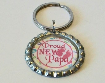 Pink and White Proud New Papa Grandfather Metal Flattened Bottlecap Keychain Great Gift