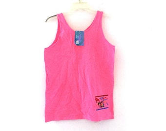 Vintage 80s tank top neon pink tshirt new old stock