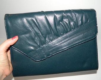 Retro 1970s Blue Leather Shoulder Bag