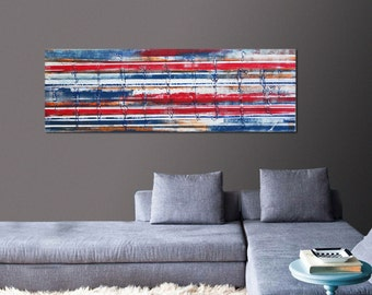 Acrylic Painting, Canvas Wall art, Landscape Red White Blue 482, Original Hand Made, Abstract Painting, Modern Art, Large painting