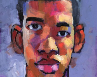 Pinoy Boy, Expressionist Portrait of Part-Filipino Male, Original Acrylic Painting on Canvas