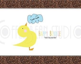 bird logo, animal logo, pet logo - OOAK Premade Logo Design -Happy Birdie- Perfect for Shop, Nature Company, animal lovers