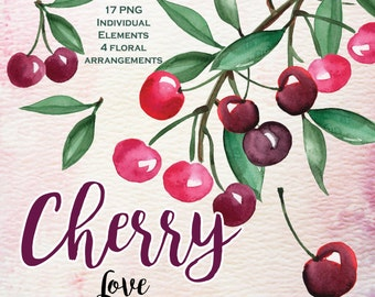 21 Watercolor Cherry clipart, wedding clip art, digital clipart, hand painted cherries
