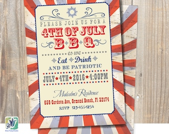 Fourth of July Inviation / BBQ Party Invitation / Symbol Announcement