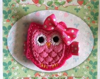 Pink Owl Hair Clip