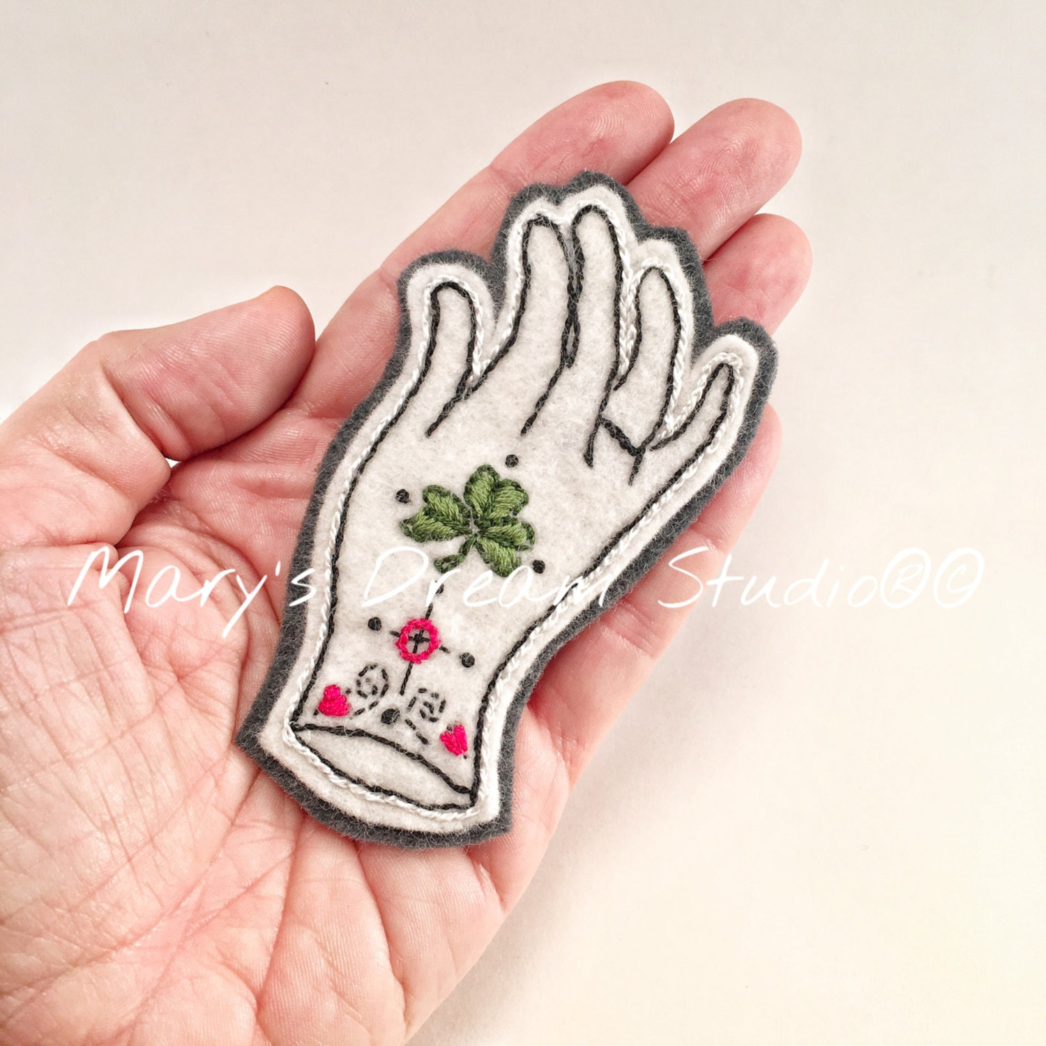 Hand Embroidered Patch Victorian Hand Patch Felt Patches