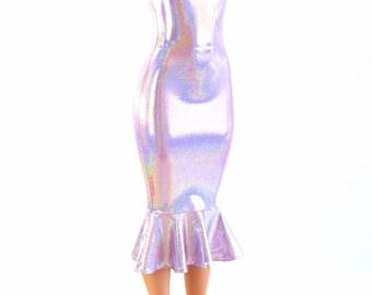 Lilac Purple Holographic Ruffled Tank Style Wiggle Dress Fun and Flirty Retro Bombshell Style!  -152835