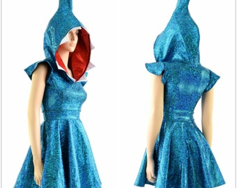 Holographic Turquoise Shark Fin Hoodie Skater Dress with Red Lined Hood and Teeth Rave Festival Clubwear   -152885