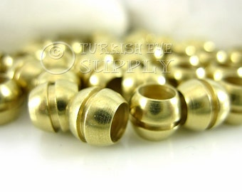 15 Raw Brass Barrel Beads, 8x7mm Ball Spacer Beads, Solid Brass Round Beads, Raw Brass Beads, Raw Brass Findings
