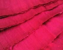 Cerise Shimmer Silk Ribbon by the metre. Upcycled Dupioni Silk Selvedge Offcut Fabric, Crisp, Slubby, Wide Iridescent Hot Pink Silk Ribbon