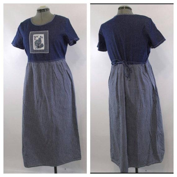 vintage 90s dress cat dress denim dress jean dress