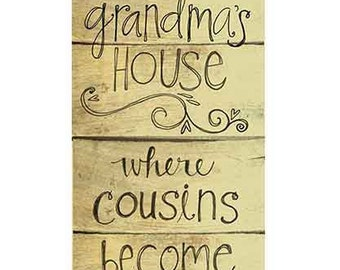 "Grandma's House 4x10"" Art Print on Wood with Dimensional Heart"