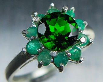 1.35ct Natural Russian Chrome Diopside vivid green & emeralds Sterling .925 Silver engagement ring all sizes