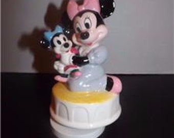 Schmid~Disney~MINNIE MOUSE With Baby Doll~Music Box~Rock-a-Bye Baby