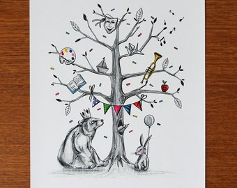 Displays the tree of imagination, illustration for children, printing, wall decoration