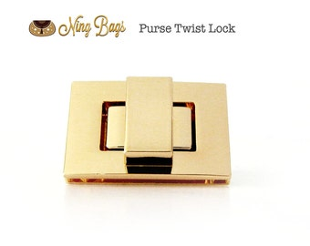 High Quality Twist Lock in Soft Gold, Turn Lock, Purse Twist Lock in Beautiful Light Gold Finish