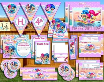 Shimmer and Shine Birthday Package - Printable Digital Instant Download Files