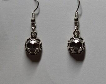 Silver Soccer Ball Earrings