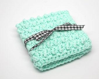 Cotton Washcloth- Crochet Washcloth- Makeup Washcloth- Face Scrubbie- Exfoliating Washcloth- mint green