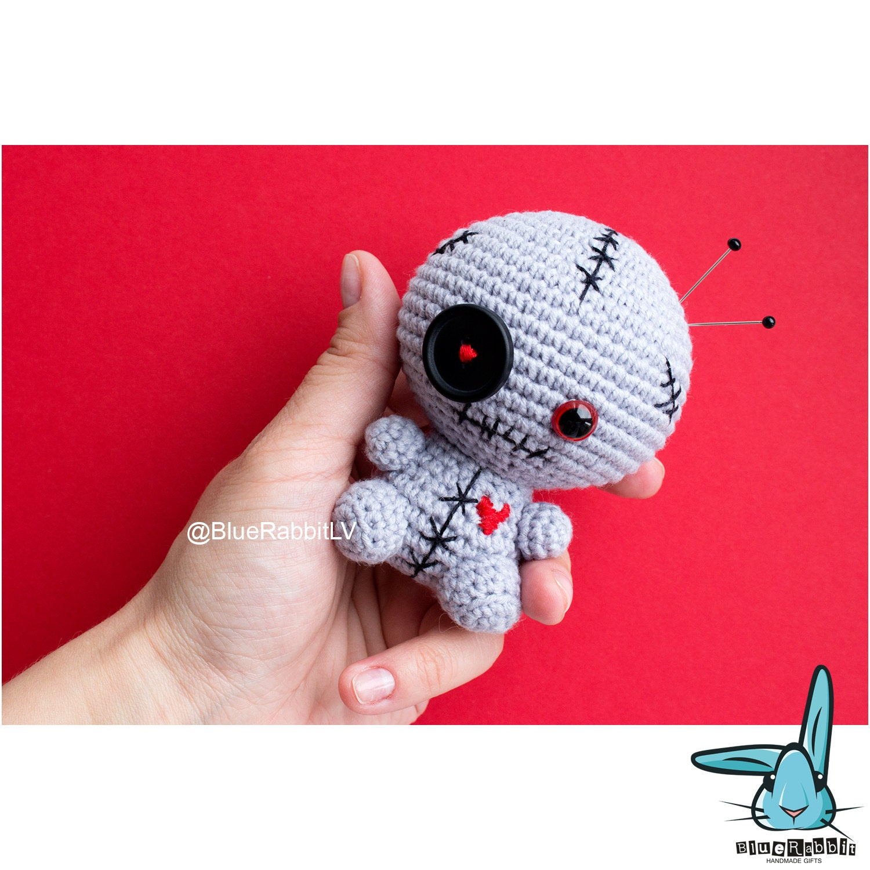 Amigurumi Voodoo Doll : Grey voodoo doll amigurumi crochet toy. Pincushion.