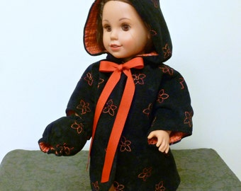 American Doll Winter Coat with Hood, Muff/Girl Doll Jacket/18 inch doll Black Suede Cape/AG Doll Muff and Coat/Outerwear