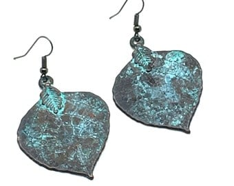 Mexico,Nature Inspired Earrings,Copper Jewelry,Turquoise Jewelry,Resort Wear Jewelry,Dangle Earrings,Leaves,Gift for Her,Gift Idea,Nature