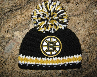 Crochet Beanie Baby Hat (Boston Bruins Hockey) Embroidered Logo - Black, White and Gold with embroidered logo