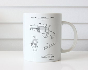 Ruger Revolver Patent Mug, Pistol Mugs, Gun Mug, Gun Enthusiast, PP1023
