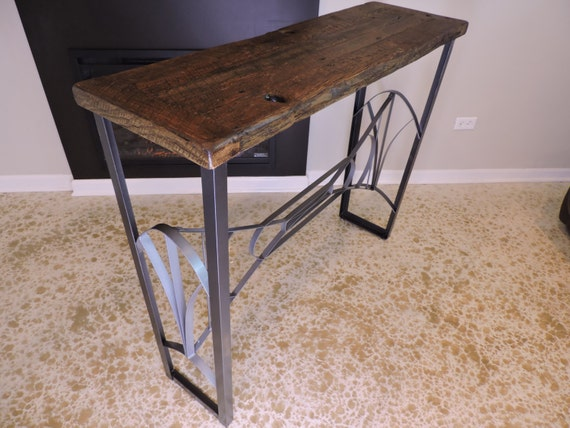Barn wood reclaimed bar height cocktail table art deco for Height of cocktail tables