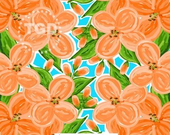 Preppy Orange floral digital paper - floral digital paper, preppy digital paper, tropical digital paper, preppy prints, watercolor flowers