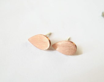 Handmade studs copper drops earrings.Silver 925 ear pin.