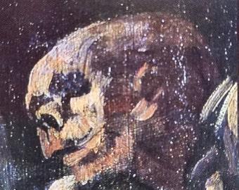 Vintage Goya Two Old People Supping art postcard Printed in Spain