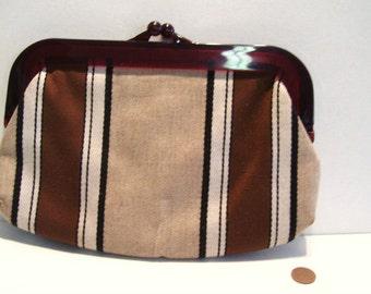 Vintage 1960s DANIELLE Striped Cloth Clutch Handle
