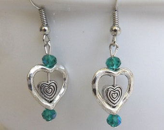 Silver Heart Earrings, Valentines Day Gift for Her, Heart Dangles, Unique Jewelry, Crystal Bead Earrings, Teal Bead Jewelry, Gift for Mom