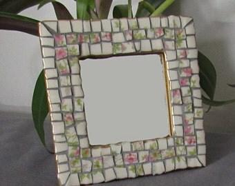 Pink Flower Pattern Mosaic Frame