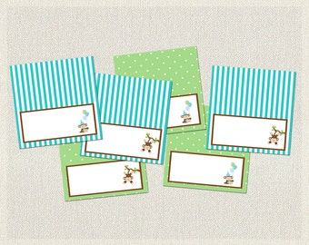 Green Blue Food Tent Cards Labels Birthday Monkey Brown 1st 2nd 3rd Printable Boys IV-3