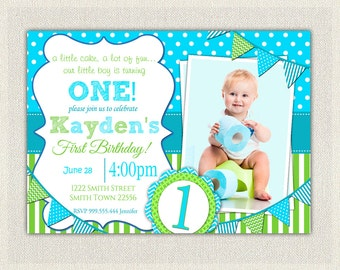 Boys 1st Birthday Invitation / Blue and Green Dots Stripes  / Printable Download / First Birthday Invitation Invites Blue Green Bunting