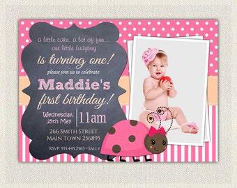 Girls 1st Birthday Invitation / Pink Chalkboard Ladybug First Birthday Invites / Printable Invitation / Ladybird Pink  Girls 1st Birthday 66