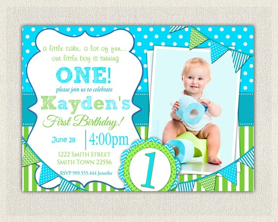 boys 1st birthday invitation / blue and green dots stripes /, Birthday invitations