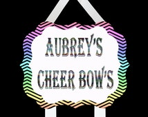 Glitter or holographic personalized Cheer Bow Holder