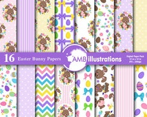 80%OFF Easter paper, easter bunny paper, Easter chevron, polka dots, ribbons paper, scrapbook, eggs chocolate bunny, comm. use, AMB-1177