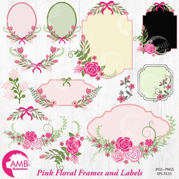 Floral Frames and Tags Clipart, Shabby Chic Wedding Frames Clipart ...