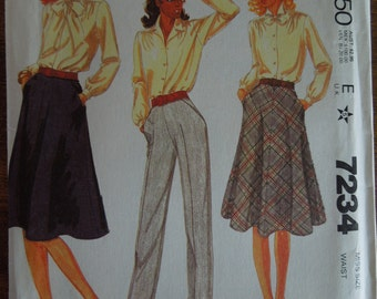 McCalls 7234, size 18, skirt and pants, misses, womens, UNCUT sewing pattern, craft supplies,