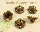 10 mm x 6 mm Antique Bronze Flower Bead Cap - Nickel Free, Lead Free and Cadmium Free - 20 pcs