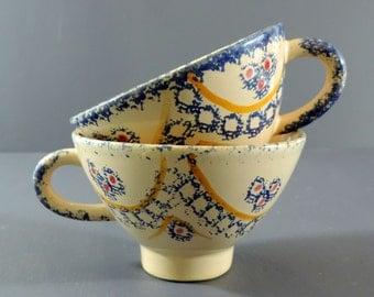 French Vintage Cider Cups Quimper Set Of 2/ Vintage French Cider Cups