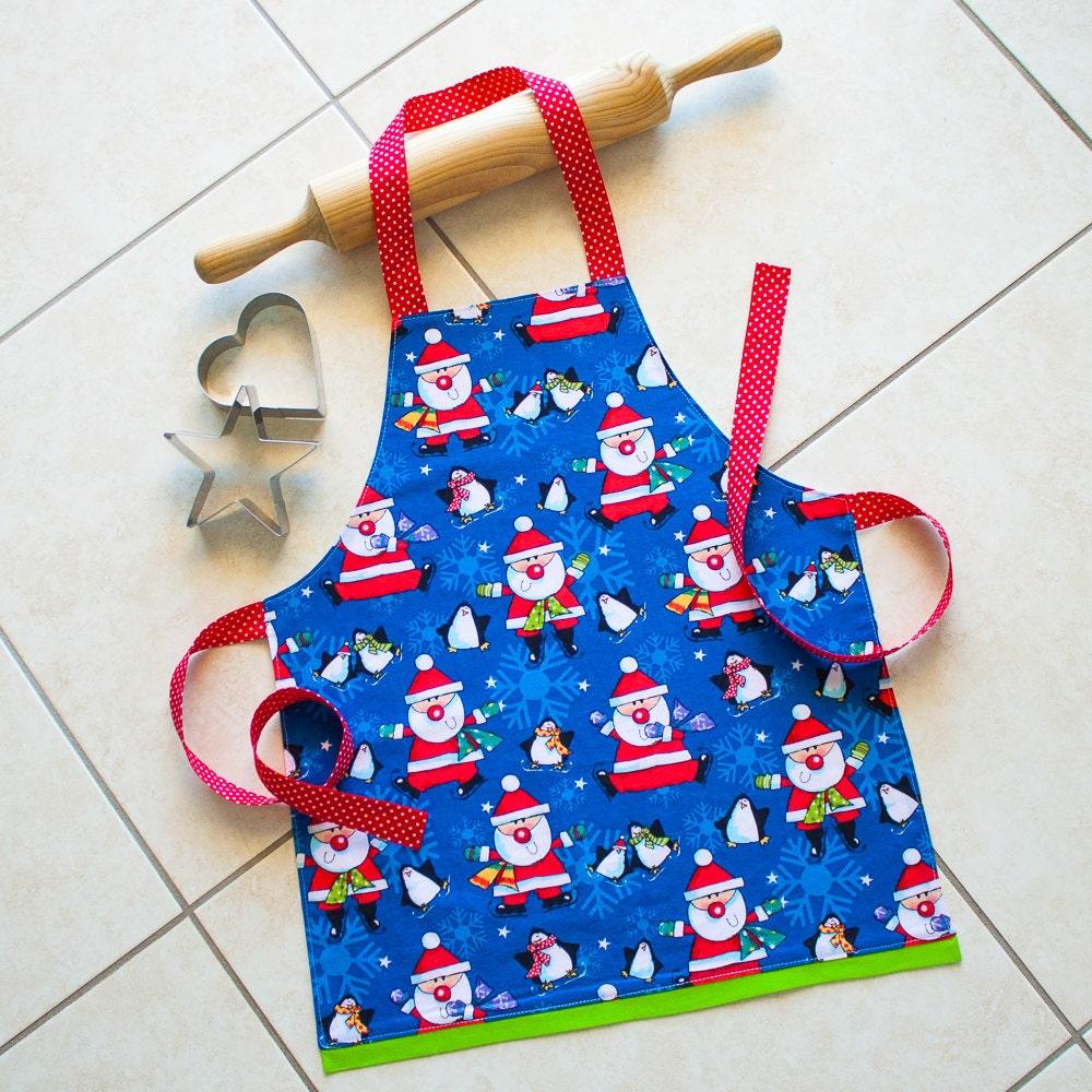 Kids Christmas Apron Blue Childs Kitchen Craft Play Art