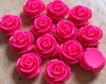 10 pcs 14 mm Hot Pink cabochon Flower,Hot Pink rose flower,Magenta Rose cabochon.fuscia rose cabochon,resin flower,rose cabochon flower