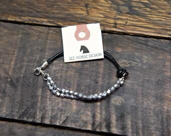 Silver bead & leather bracelet