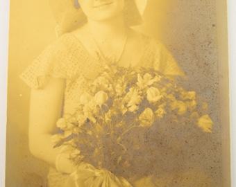 Vintage Portrait Photo of Woman Holding Flower Bouquet