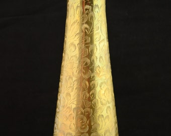 Vintage Brass Vase with Engraved Floral Accents, 10-1/4 inches tall, Made in India